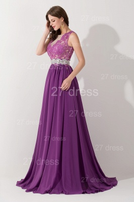 Newest Illusion Purple A-line Evening Dress Lace Appliques Beadings_2