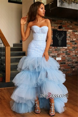 Chic Tiered High Low Mermaid Prom Dresses   Sweetheart Sleeveless Appliques Evening Dresses_3