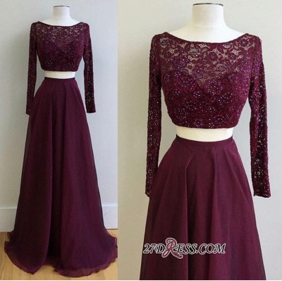 Long-Sleeve Burgundy Gorgeous Lace Two-Pieces 2020 Evening Dress PT0177_1