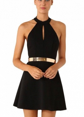 Sexy Black Halter Lace Sleeveless Homecoming Dress With Golden Belt_2