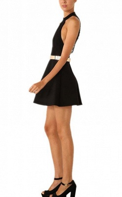 Sexy Black Halter Lace Sleeveless Homecoming Dress With Golden Belt_4