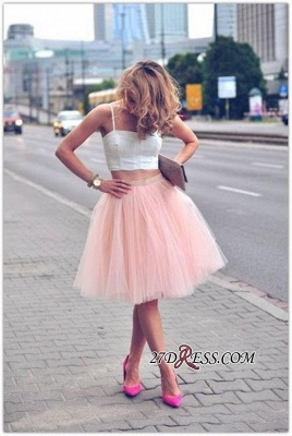 White Sexy Tulle Pink Spaghetti-Strap Sleeveless Two-Piece-Homecoming-Dress_3