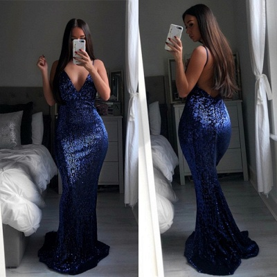 2020 Mermaid Prom Dress | Spaghetti-Straps Sequins Long Evening Gowns BA9528_3