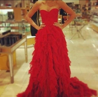Red Sweetheart Ruffles evening party Dress 2020_1