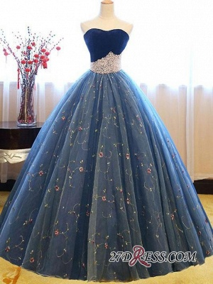 Sweetheart Embroidery Exquisite Pearls Puffy 2020 Prom Dresses Online_5