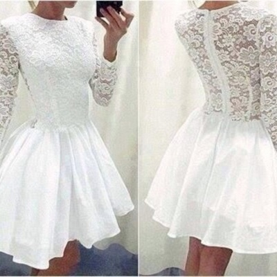 Modern Long Sleeve White Homecoming Dress 2020 lace Short prom Gowns TH019_3