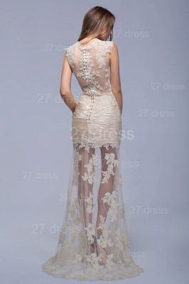 Sexy High Neck Lace Appliques Evening Dress Sweep Train_3