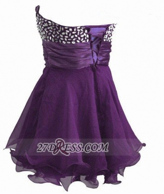 Elegant Sweetheart Sleeveless Short Homecoming Dress Crystals Lace-up Chiffon Purple Cocktail Gown_3