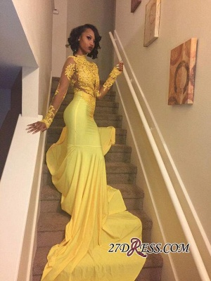 Appliques Long-Sleeve Yellow Lace High-Neck Beautiful Mermaid Prom Dress BK0_3