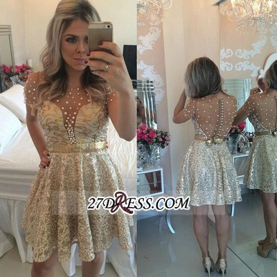 A-line Gold Short-Sleeves Beadings Short Lace Homecoming Dress_3