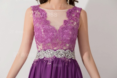 Newest Illusion Purple A-line Evening Dress Lace Appliques Beadings_5