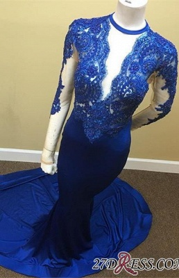 Royal-Blue Appliques Sheath Sheer Lace Tulle Long-Sleeve Scoop Prom Dress JJ0119_3