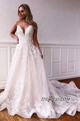Spaghetti-straps Gorgeous Applique A-line Wedding Dresses_2