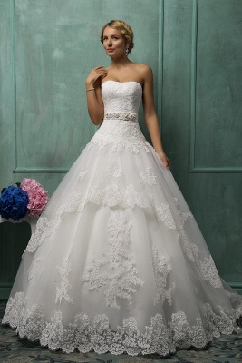 Elegant Sweetheart Sleeveless Tulle Wedding Dress With Lace Appliques Bow_4