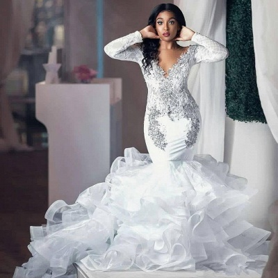 Sexy Beading Appliques Wedding Dress Long Sleeve Mermaid Tulle Bridal Gowns_2