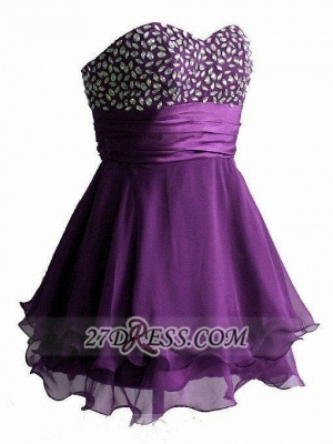 Elegant Sweetheart Sleeveless Short Homecoming Dress Crystals Lace-up Chiffon Purple Cocktail Gown_2
