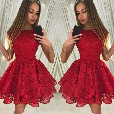 Gorgeous Red Lace Homecoming Dress | 2020 Short Party Dress BA9963_3