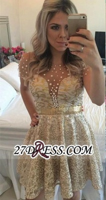 A-line Gold Short-Sleeves Beadings Short Lace Homecoming Dress_4