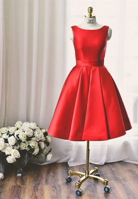 High Quality Bateau Red Short Homecoming Dress Bowknot_1