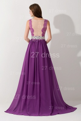 Newest Illusion Purple A-line Evening Dress Lace Appliques Beadings_3