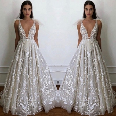 2020 Charming Deep V Neck Sleeveless A Line Wedding Dress | Hot Sell Lace Appliques Bridal Gown With Bow BC0645_2
