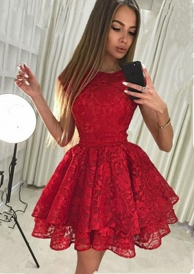 Gorgeous Red Lace Homecoming Dress | 2020 Short Party Dress BA9963_1