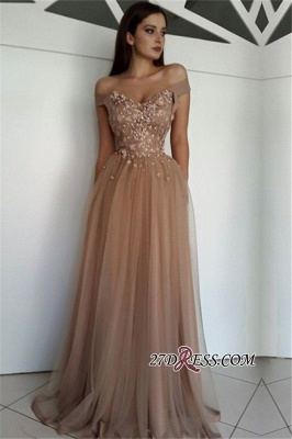 Off-the-Shoulder Gorgeous Tulle Beaded Prom Gowns_1