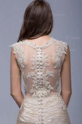 Sexy High Neck Lace Appliques Evening Dress Sweep Train_4