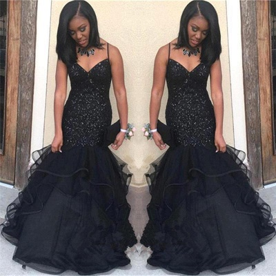 Black Sequins Mermaid Prom Dress | 2020 Spaghetti-Straps Party Gowns BK0_3