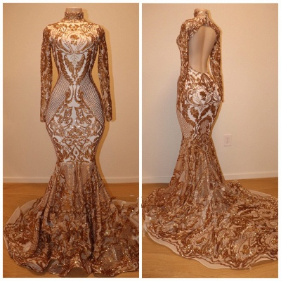Gorgeous Long Sleeve Gold Sequins Prom Dress   2020 Mermaid Long Sleeve Evening Gowns BC1623_2