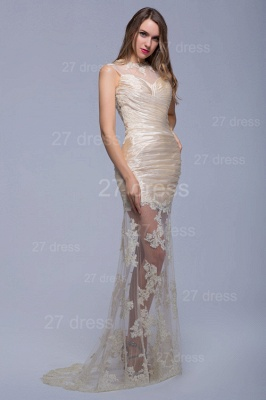 Sexy High Neck Lace Appliques Evening Dress Sweep Train_2