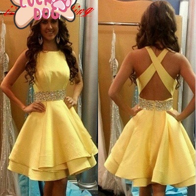 Lovely Yellow Criss-Cross Back Homecoming Dress 2020 Short Chiffon With Crystal_3