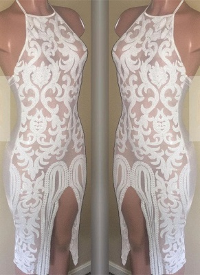 Sexy White Lace Short Homecoming Dresses | 2020 Sheath Prom Dress_1