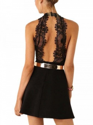 Sexy Black Halter Lace Sleeveless Homecoming Dress With Golden Belt_3