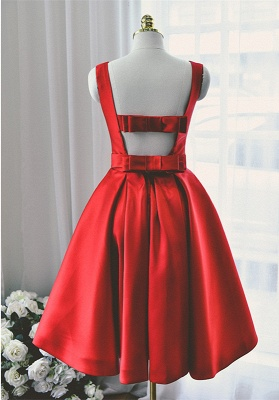 High Quality Bateau Red Short Homecoming Dress Bowknot_2