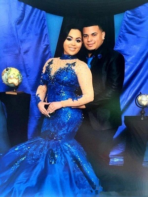 Royal-Blue Long-Sleeve 2020 Prom Dress | Mermaid Lace Evening Gowns_3