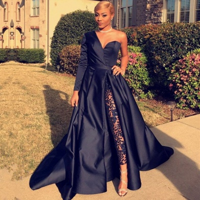 Sexy Black Long Sleeve Evening Dresses   2020 One Shoulder Split Prom Gowns BC0282_2