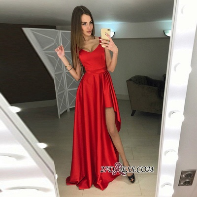 A-line Hi-Lo Sleeveless Red Modern Scoop Prom Dress_1