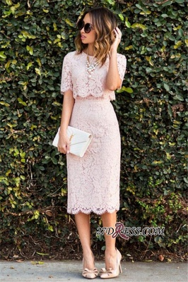 Cute Two-Piece Short-Sleeve Fashion Pink Lace Short Homecoming Dresses BA6003_2