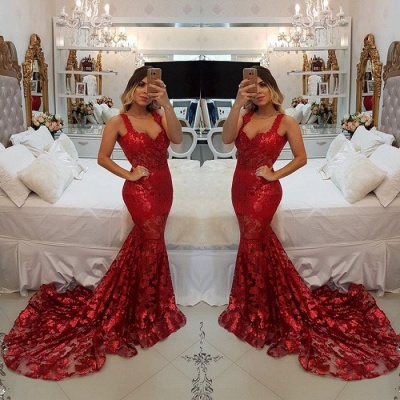 Modest Red Straps Mermaid Sweep Train Evening Dress   Lace Party Gown_3