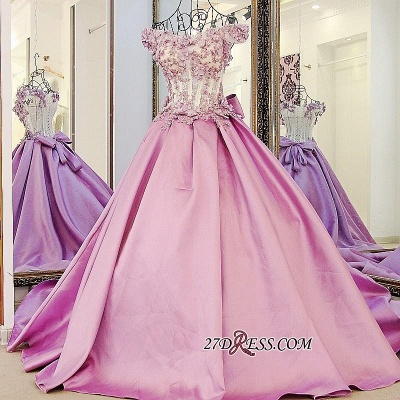 Off-the-Shoulder 2020 Puffy Beaded Applique Flowers Pink Prom Dresses With Bows_1