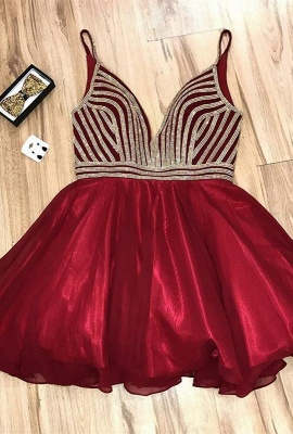 Beautiful V-Neck Sequins Homecoming Dresses   2020 Red Short Homecoming Dresses_1