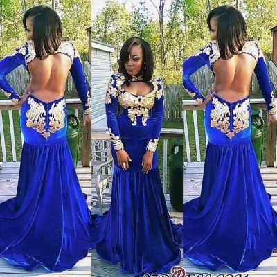Zipper Mermaid Gorgeous Long-Sleeve Royal-Blue Appliques Prom Dress BK0_2