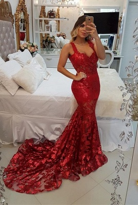 Modest Red Straps Mermaid Sweep Train Evening Dress   Lace Party Gown_1