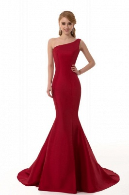 Sexy Burgundy One Shoulder Mermaid Prom Dress With Train_4