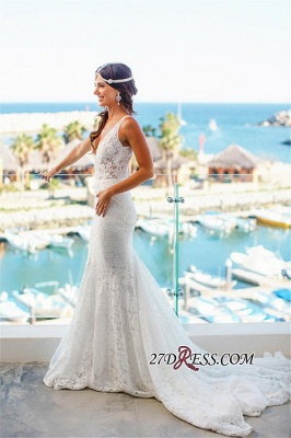 2020 Sleeveless Mermaid Sexy Deep-V-Neck Lace Wedding Dress_3