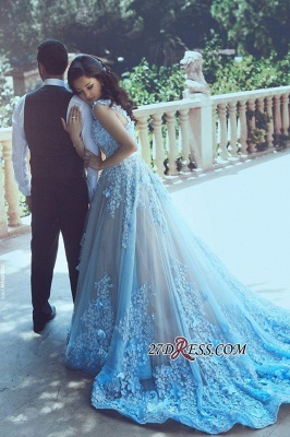 3D-Floral Appliques Luxury Sleeveless Blue A-line Prom Dresses_2