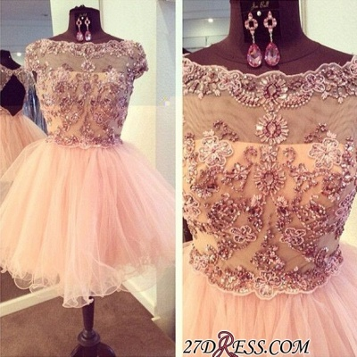 Bateau-Neck Beaded Luxury Puffy Capped-Sleeves Homecoming Dresses_2