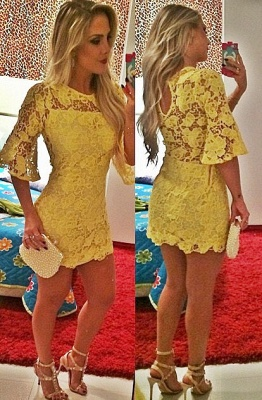 Sexy Short Yellow Cocktail Dress Lace Half Sleeve_1
