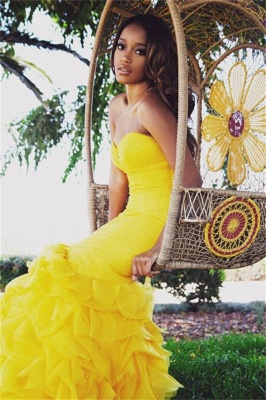 Gorgeous Sweetheart Yellow 2020 Prom Dresses Mermaid With Train BK0_1